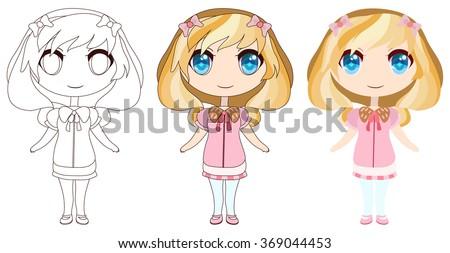 Stock Photo Sweet blond anime girl