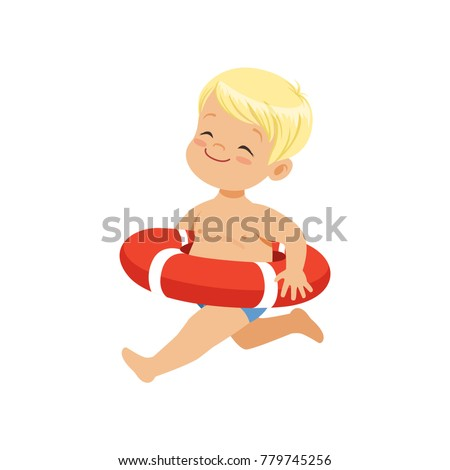 sweet blonde little boy running