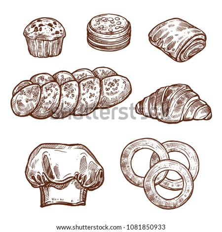 Sweet bread bun sketch set of bakery and pastry shop product. Croissant, cupcake and cookie, chocolate roll, braided bun and bagel isolated icon with baker hat for pastry dessert design