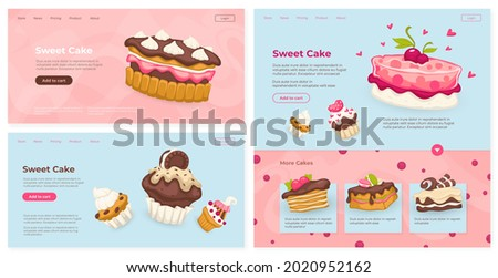 Sweet cake, dessert pastry concept, vector illustration. Delicious chocolate food from bakery, web page set. Tasty confectionery design, business confectionery, landing banner design.