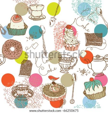 sweet cake. seamless pattern