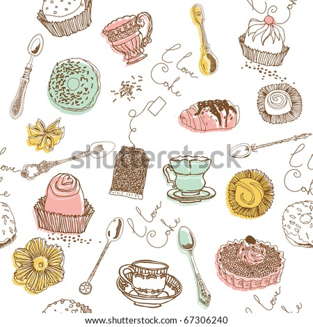sweet cake. seamless pattern