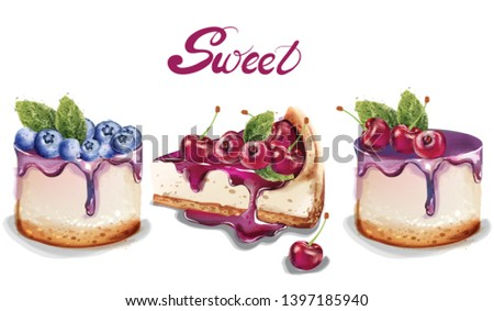 sweet cakes set vector