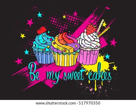 sweet cakes  typography