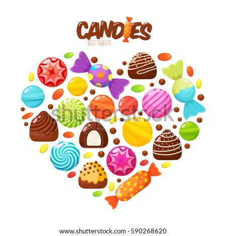 Sweet candies flat icons set. Candies, sweetmeats, lollipops and assorted chocolates colorful lollipops in shape of heart. Sweets and candies icons set in modern flat style. Vector illustration Stockfoto ©