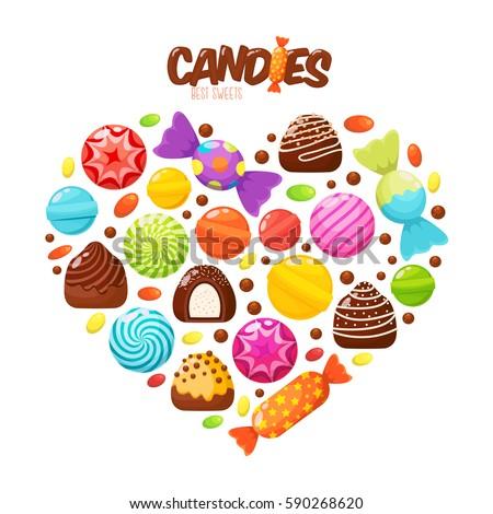 sweet candies flat icons set