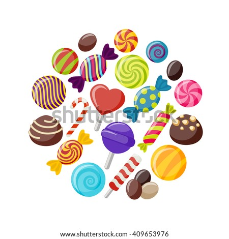Sweet candies flat icons set in shape of circle with assorted chocolates colorful lollipops isolated vector illustration