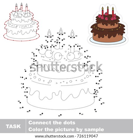 Sweet Candle Cake. Dot to dot educational game for kids.
