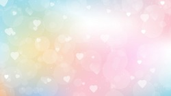 sweet candy gradient background with heart bokeh for valentines day web page screen size