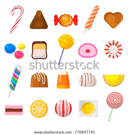 sweet candy icon set sweet