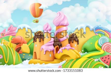 Sweet candy land. 3d vector cartoon background. Plasticine art illustration