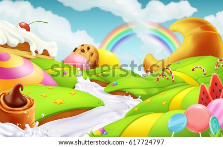Sweet candy land. 3d vector illustration. Cartoon game background