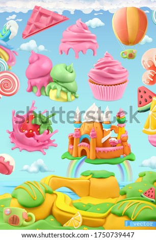 Sweet candy land. 3d vector object set. Plasticine art illustration Stock foto ©