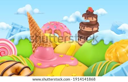 Sweet candy landscape. 3d cartoon vector background