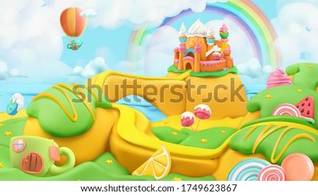 Sweet candy landscape. 3d vector background. Plasticine art illustration