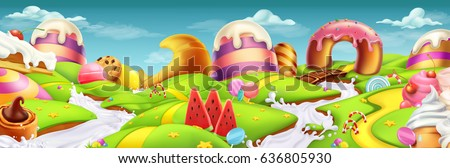 Sweet candy landscape panorama. 3d vector background