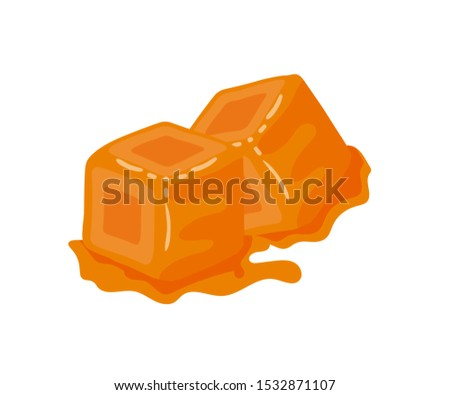Sweet caramel candies flat vector illustration. Brown toffee cubes, delicious confection, tasty treat. Confectionery shop, store product isolated on white background. Creamy delicacy, melting dessert