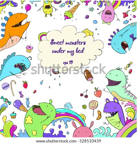 sweet cartoon monsters rainbow