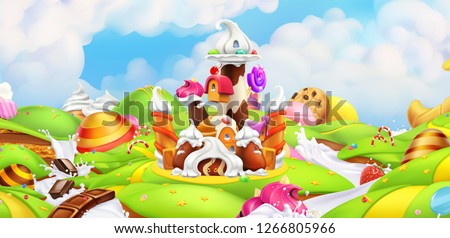 Sweet castle. Panorama landscape, vector background