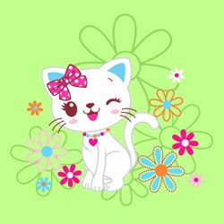 sweet cat and beautiful flower vector illustration