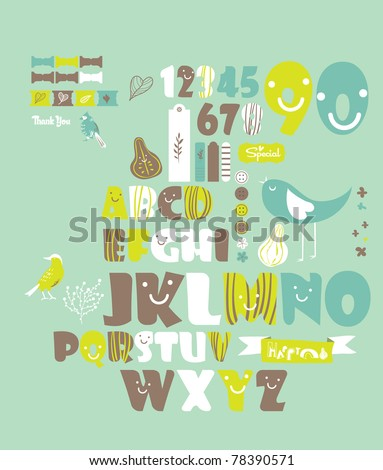 sweet character font set- very cute green fonts set