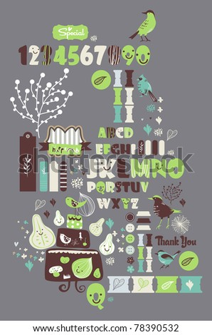 sweet character font set- very cute green fonts set for scrapbooking