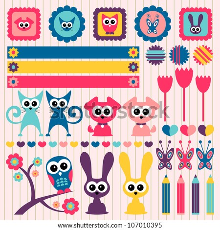 Sweet childlike scrapbook elements with animals