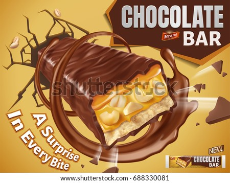Sweet chocolate bar with nuts and caramel fillings break out from wall in 3d illustration
