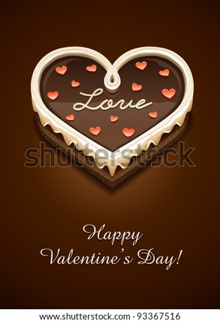 sweet chocolate cake as heart with love vector illustration EPS10. Transparent objects used for shadows and lights drawing