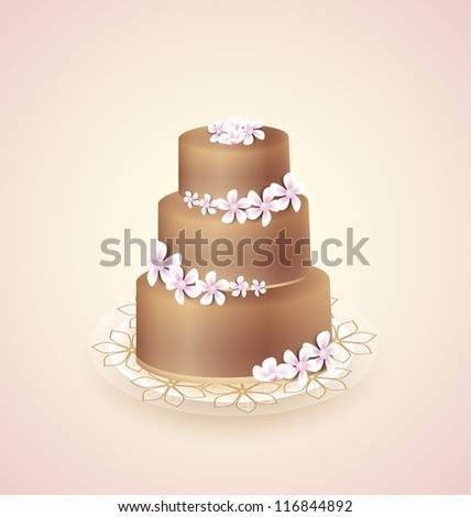 Sweet chocolate cake for celebrations, vector illustration