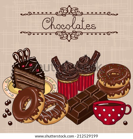 Sweet chocolate cakes. Hand drawn vector illustration.