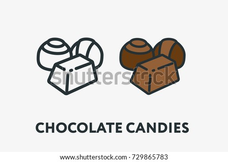 Sweet Chocolate Candies Types Minimal Flat Line Outline Colorful and Stroke Icon Pictogram