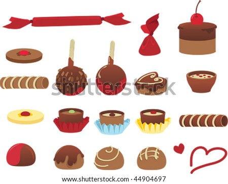 Sweet chocolate candy - vector set