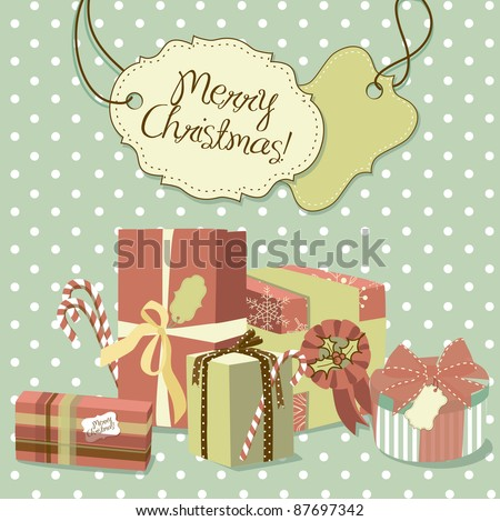 Sweet Christmas card in retro style. A pile of Christmas gifts