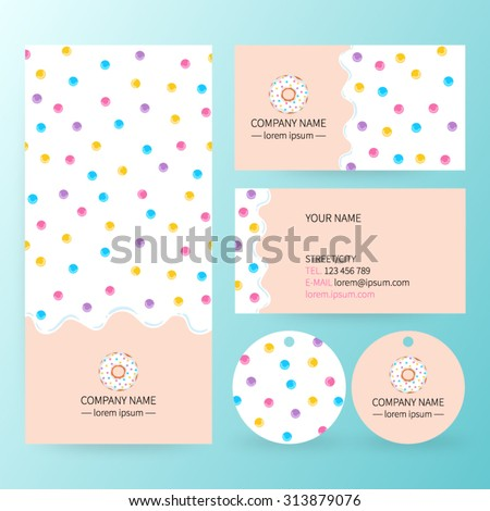 Sweet corporate identity template design set . White donut glaze business card.