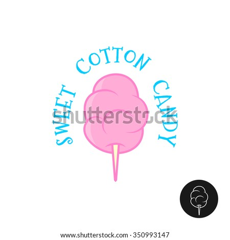 Sweet cotton candy vector illustration. Simple cartoon linear style logo.