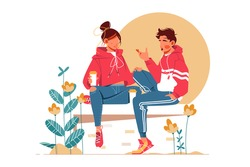 Sweet couple talking sitting on bench vector illustration. Blooming flowers outdoors flat style. Girl and guy in sportswear. Relationship and communication concept. Isolated on white background