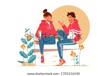 sweet couple talking sitting on