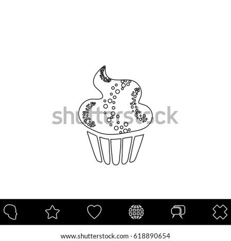 sweet cupcake black outline