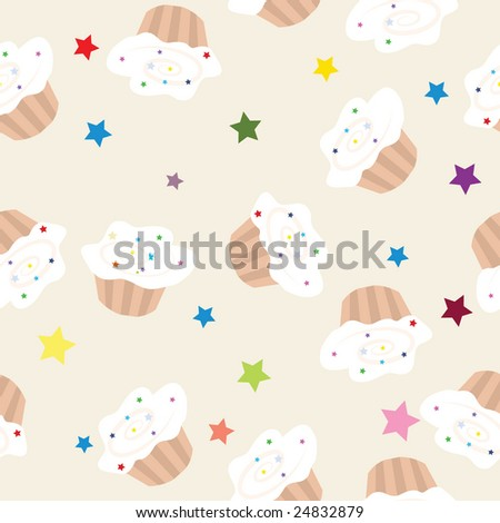 Sweet cupcakes, vector seamless pattern-illustration.