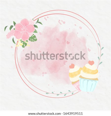 sweet cupcakes watercolour style paint on pink background.circle frame decorate with floral and flower.the designing for business logo card.cute food vector post on bakery cafe wall paper.