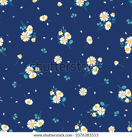 Sweet daisies ditsy vector seamless pattern design. Great for summer vintage fabric, scrapbooking, wallpaper, giftwrap. Suraface pattern design.