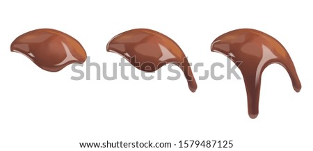 Sweet dark liquid chocolate flowing down. Ganache, icing, frosting, sauce flowing down the surface of the ball. Vector 3d realistic illustration isolated on white background.