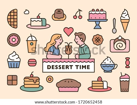Sweet dessert icons and cute couple characters. flat design style minimal vector illustration.