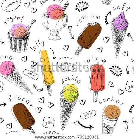 Sweet dessert seamless pattern. Hand drawn ice cream cones and popsicles. Ink sketch with colorful shapes for menu background or food package design.