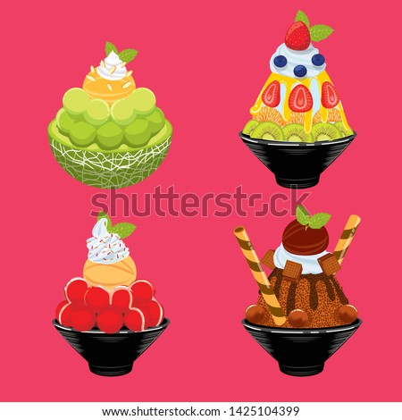 sweet dessert with background, dessert set, bingsu, ice dessert