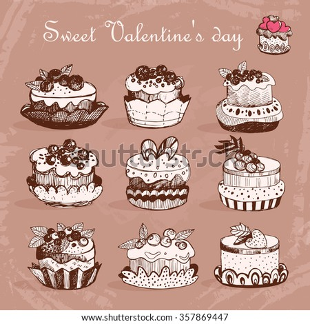 Sweet desserts. Sketch. Vector isolated illustration. Valentine's day.