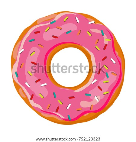Sweet donut. Donut with pink glaze isolated on white background. Vector illustration.