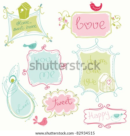 sweet doodle frames with birds...