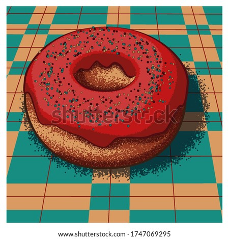 Sweet doughnut on the table. Vector illustration